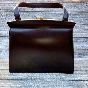 Vintage Bon Gout Brown Leather and Gold Handbag